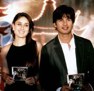 "Kareena Kapoor - Pictured with co-actor Shahid Kapoor at the audio release of 36 China Town in 2006. During the filming of Fida, the actress began a romantic relationship with Kapoor, whom she later described as having ""a major positive influence in my life."""