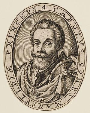 Siege of Eindhoven (1583) - Portrait of Karl von Mansfeld by Abraham Hogenberg.