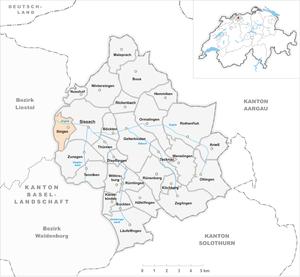 Itingen - Image: Karte Gemeinde Itingen 2007