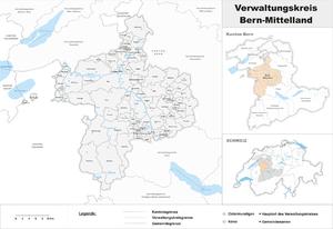 Bern-Mittelland (administrative district) - Image: Karte Verwaltungskreis Bern Mittelland 2017