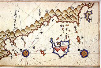 Kaş - Historic map of Kaş by Piri Reis