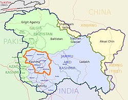 Kashmir Valley (orange bordered) lies in Jammu & Kashmir state of India