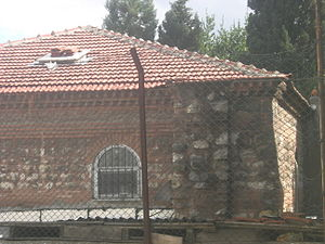 Kasım Agha Mosque - Close-up of the northeast side of the mosque with the brickwork
