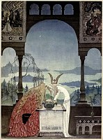 Kay Nielsen - East of the sun and west of the moon - the three princesses of whiteland - the King went into the Castle and at first his Queen didnt know him.jpg
