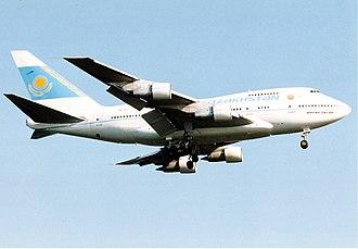 Kazakhstan Airlines - The Boeing 747SP of Kazakhstan Airlines approaching Frankfurt Airport (1994).