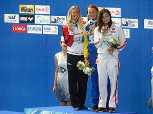 Swimming at the 2015 World Aquatics Championships – Women's 100 metre butterfly - Victory Ceremony
