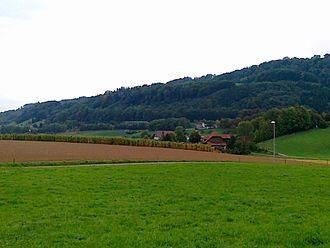 Kehrsatz - School Complex Selhofen (right), Farm Liechti (middle) and Belp (left) viewed from Eichenrain