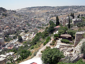 Kidron Valley - Kidron Valley viewed from the Old City of Jerusalem, with Millo in the lower bottom.