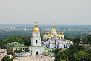 St. Michael's Golden-Domed Monastery - The reconstructed monastery with cathedral and bell tower seen in front of St. Michael's Square.