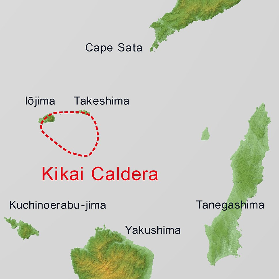 Kikai Caldera Relief Map, SRTM, English
