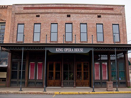 King Opera House, located in the Van Buren Historic District was built in the late 19th century King Opera House, Van Buren, Arkansas.jpg