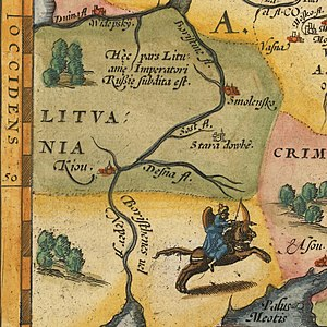 Kiev Voivodeship - Kiev (Kiou). A fragment of Russiae, Moscoviae et Tartariae map by Anthony Jenkinson (London 1562) published by Ortelius in 1570.