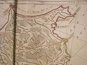 Semyon Dezhnev - An early (1773) map of Chukotka, showing the route of the Dezhnyov expedition of 1648