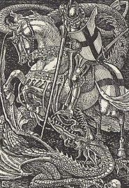 """Knight, lance and dragon art from Spenser's """"Faerie Queen"""" - The art of Walter Grane (page 193 crop).jpg"""