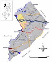 Map of Knowlton Township in Warren County. Inset: Location of Warren County in New Jersey.