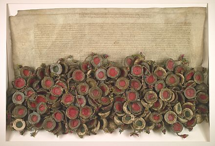 The Warsaw Confederation passed by the Polish national assembly (Sejm Konwokacyjny), extended religious freedoms and tolerance in the Commonwealth, and was the first of its kind act in Europe, 28 January 1573. Konfederacja Warszawska.jpg