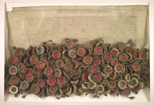 Original act of the Warsaw Confederation 1573. The beginning of religious freedom in the Polish-Lithuanian Commonwealth Konfederacja Warszawska.jpg