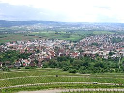 Korb in Württemberg, Germany, viewed from the Hörnleskopf Mussklprozz, own picture, taken on 2006-05-27