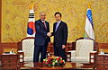 Korea-Uzbekistan summit in Seoul, Feb 2010 (4350010159).jpg