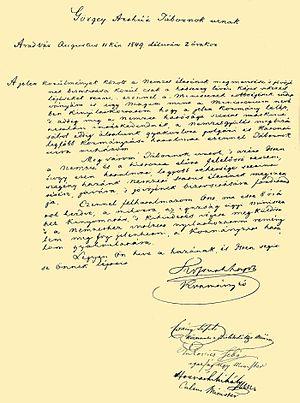 Surrender at Világos - Lajos Kossuth's letter to Artúr Görgey resigning his command