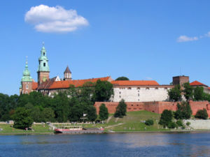 Vistula - Medieval Wawel Castle in Kraków seen from the Vistula river