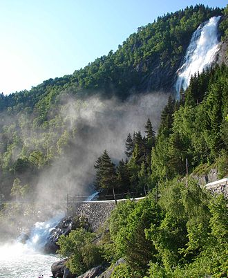 National Tourist Routes in Norway - County Road 55 passes by Kvinnafossen.