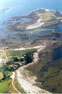 A small tidal island, on the west coast of Guernsey, Channel Islands