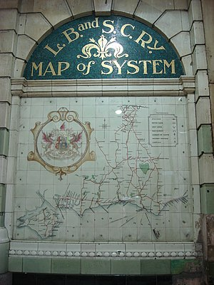 London, Brighton and South Coast Railway - A map of the London, Brighton and South Coast Railway at London Victoria station