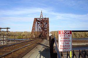 La Crescent, Minnesota - La Crescent MN swing bridge opened to river traffic