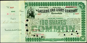 Laclede Gas Company - Share of the Laclede Gas Light Company, issued 24. May 1900