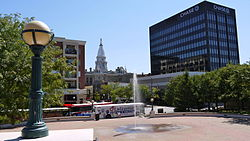 Downtown Lafayette and the Riehle Plaza & CityBus depot in August 2011.