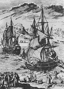 Landung La Salles in der Matagorda-Bucht 1685.jpg