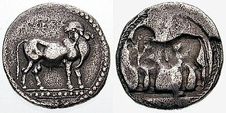 Laüs - Stater of Laüs with man-headed bull, c. 510-500 BCE