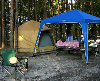 A large family tent for car-camping, with a portable gazebo. Large Car Camping Tent.jpg