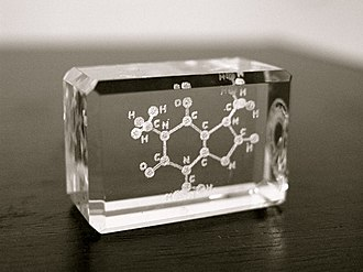 Bubblegram - A laser glass sculpture of a caffeine molecule