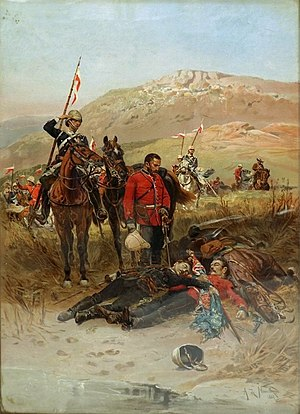 "17th Lancers - ""Last Sleep of the Brave"": this work depicts a patrol from the 17th Lancers discovering the bodies of two officers of the 24th (2nd Warwickshire) Regiment of Foot, who were both killed attempting to save the Queen's Colour of the 1st Battalion at the Battle of Isandlwana in January 1879."