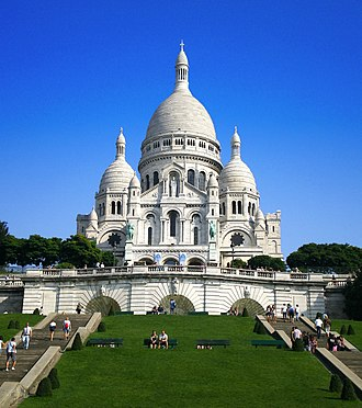 Sacré-Cœur, Paris - The Basilica of Sacré-Cœur, as seen from the base of the butte Montmartre