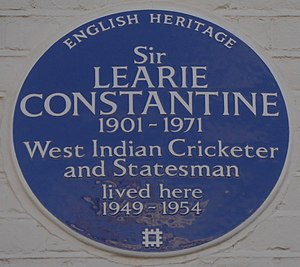 Learie Constantine - Blue plaque, 101 Lexham Gardens, Kensington, London, his home from 1949 to 1954