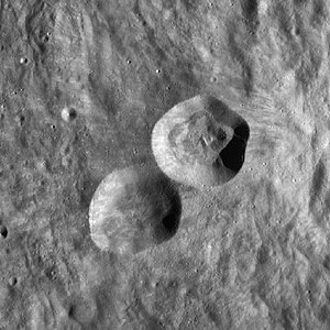 Lents (crater) - Image: Lents and Lents C craters WAC