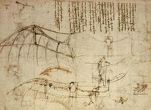 Early flying machines - Leonardo da Vinci's Ornithopter wings