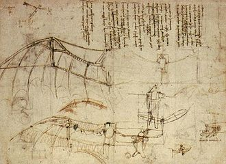 Biomimetics - Leonardo da Vinci's design for a flying machine with wings based closely upon the structure of bat wings