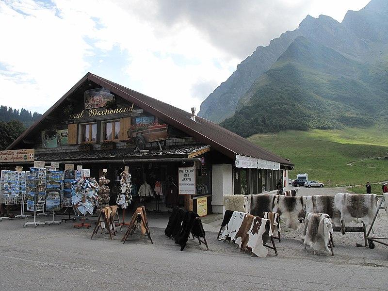 Shop of souvenirs at the col des Aravis (border Savoie and Haute-Savoie, France).