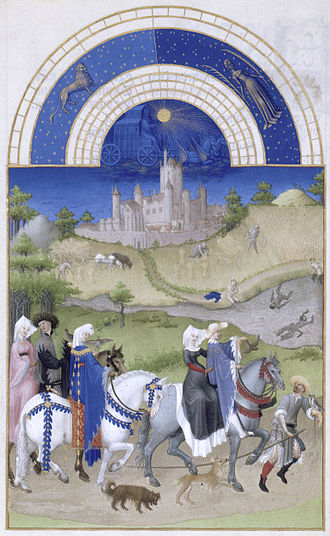 Labours of the Months - Illustration from Très riches heures du Duc de Berry, 1412-16, by Pol and Hermann de Limbourg, representing the month of August and depicting, in the foreground, the Nobility riding out to hunt with falcons while in the midground, the harvest takes place and the workers cool off in the river. One of the Duc's many castles, Étampes, completes the scene. Illumination on vellum, 22,5 x 13,6 cm