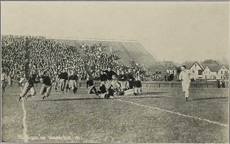 1911 Vanderbilt Commodores football team - Lew Hardage circling left end.