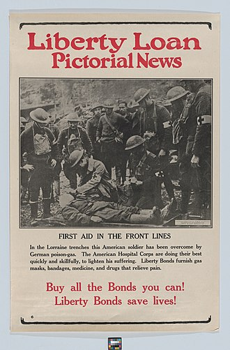 Committee on Public Information - Image: Liberty Loan pictorial news, first aid in the front lines MET DP876892