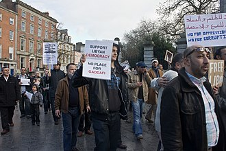 Timeline of the 2011 Libyan Civil War before military intervention - Representatives of the Libyan Community in Ireland demonstrating in Dublin, Ireland, against Gaddafi on 21 February 2011.