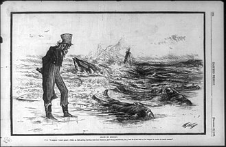 "United States Life-Saving Service - Thomas Nast 1877 political cartoon: Death on economy. U.S. ""I suppose I must spend a little on life-saving service, life-boat stations, life-boats, surf-boats, etc.; but it is too bad to be obliged to waste so much money""."