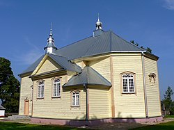 The wooden St. Charles Borromeo church in Upytė (built in 1878 upon the foundations of an earlier church from 1742).