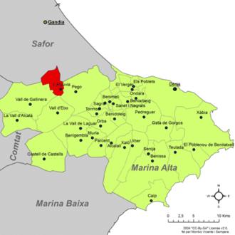 L'Atzúbia - Image: Localització de l'Atzúvia respecte de la Marina Alta