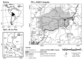 Map showing the location of Cotapata National Park and IMNA